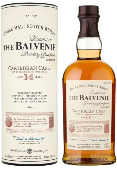 "Виски ""Balvenie"" Caribbean Cask, 14 Years Old, in tube, 0.7 л"