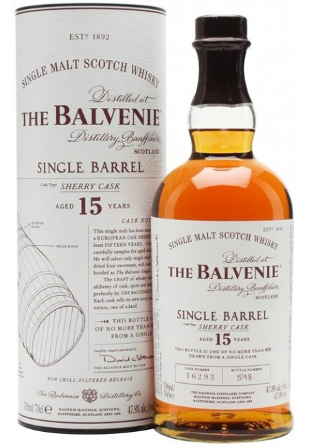 "Виски Balvenie ""Single Barrel"" Sherry Cask, 15 Years Old, in tube, 0.7 л"