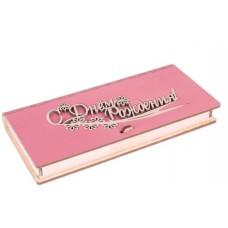 """Конверт для денег деревянный  розовый """"Цветы"""""""