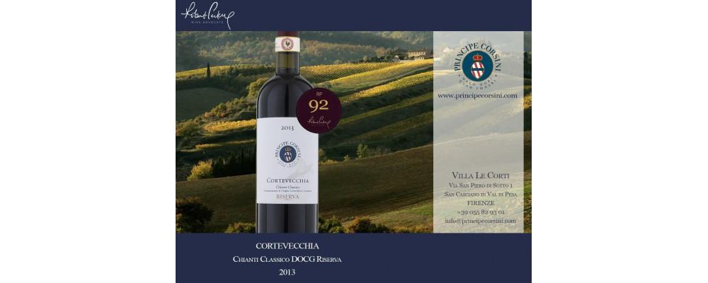 Вино LE CORTI CORTEVECCHIA Chianti Classico Reserva получило высокую оценку критиков.