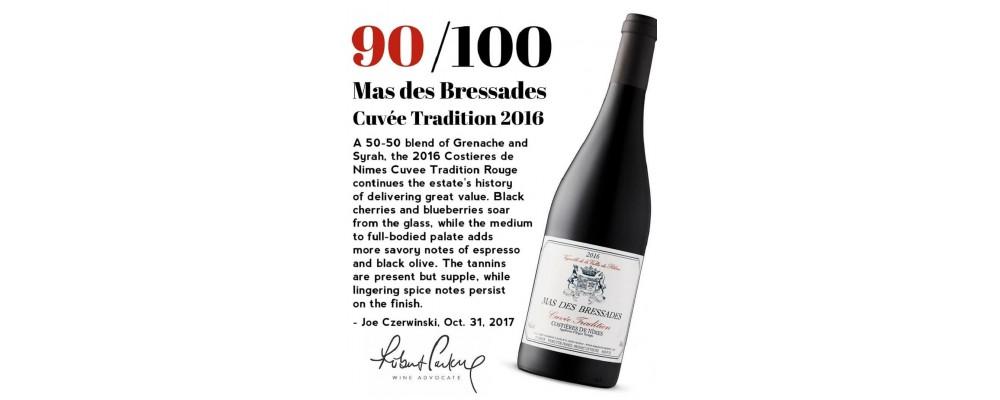 Mas des Bressades Cuvee Tradition 2016 красное получило 90/100 от Wine Advocate!