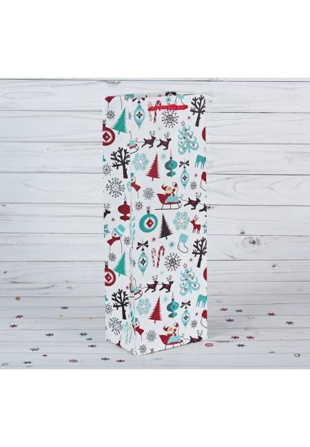 """Пакет подарочный под бутылку """" Новый год"""""""