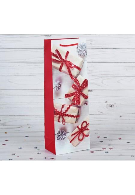 """Пакет подарочный под бутылку """" Новогодние подарки"""