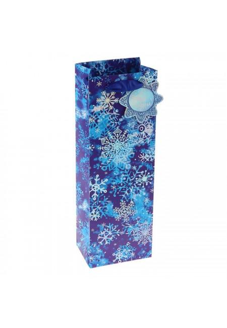 """Пакет подарочный под бутылку """" Снежный""""люкс"""