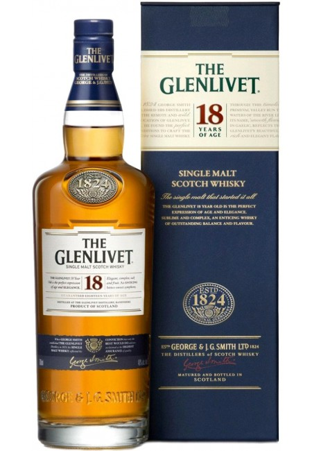 Виски шотландский «Glenlivet 18 Y.O. » в подарочной упаковке